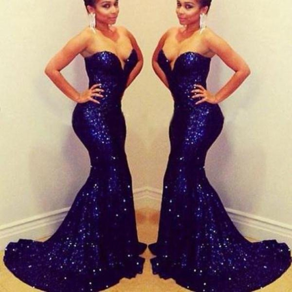 Blue Long Sweetheart Mermaid Sequined Prom Dresses 2017 #SKU:100814
