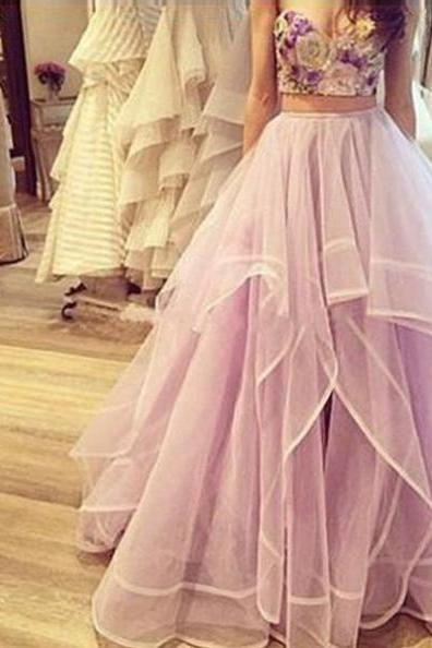 A-Line Sleeveless Natural Floor-Length Tulle Prom Dresses 2017 #SKU:101859