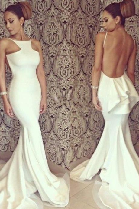White Spaghetti Straps Sweep Train Mermaid Satin Chiffon Prom Dresses 2017 #SKU:101899