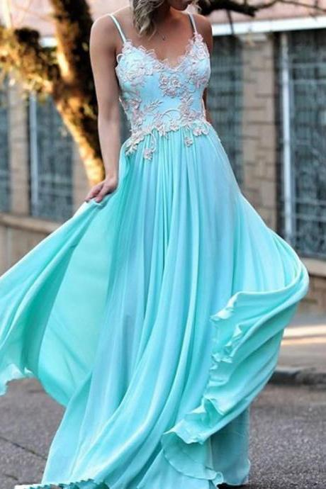 Long 2017 Party Dress Discount Sleeveless Spaghetti Straps Floor-length A-line Applique Zipper Chiffon