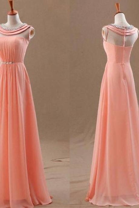 Long 2017 Party Dress Sale Sleeveless Round Floor-length A-line Zipper Chiffon