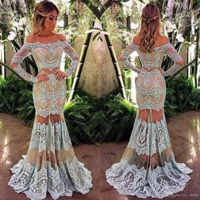 White Trumpet/Mermaid Long Sleeves Natural Zipper Floor-Length Lace Prom Dresses 2017 #SKU:102102