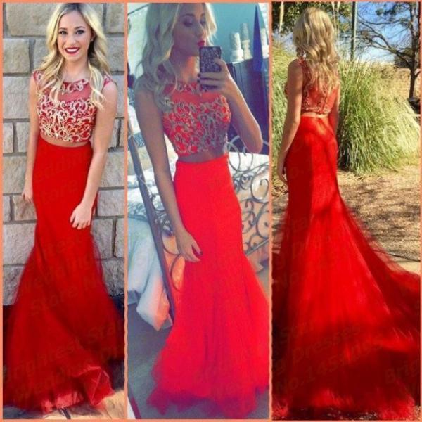 Red Appliques Sweep/Brush Train Trumpet/Mermaid Tulle Prom Dresses 2017 #SKU:102645
